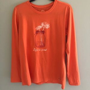 Life is Good Long Sleeve Graphic T Wildflowers M
